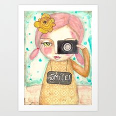 Smile ! girl with photo camera Art Print