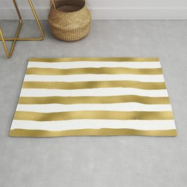 Simply luxury Gold stripes on clear white - horizontal pattern Rug