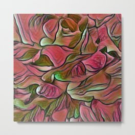 Flowing Soft Petal Abstract - Deep Rose Pink and Green Metal Print