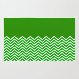 Solid Green Chevron Rug