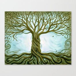 Blue and Brown Swirly Tree of Life by Renee Womack Canvas Print