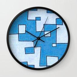 Protoglifo 05 White clouding to blue Wall Clock