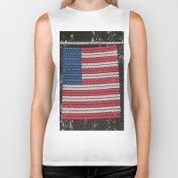american flag Biker Tanks featuring American Flag by Photaugraffiti