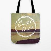 carpe diem Tote Bags featuring Carpe Diem  by Rachel Burbee