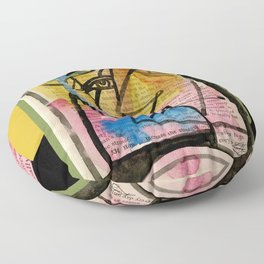 """Funky Face Abstract, """"I See 32"""" by Kathy morton Stanion Floor Pillow"""