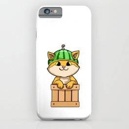 Cat with Fence and Watermelon iPhone Case