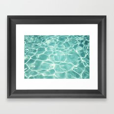 Water Abstract Photography, Teal Ocean, Turquoise Sea, Water Ripple Seascape Framed Art Print