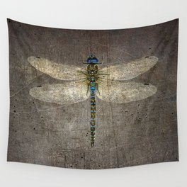 Dragonfly On Distressed Metallic Grey Background Wall Tapestry