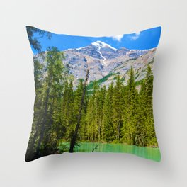 Mt. Robson and the Robson River in British Columbia, Canada Throw Pillow