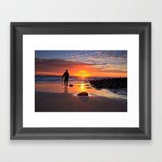 Evening Sunset Surfing Framed Art Print