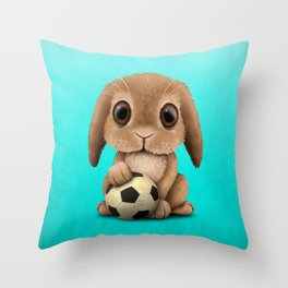 Cute Baby Bunny With Football Soccer Ball Throw Pillow