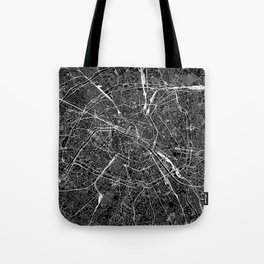 Paris Black Map Tote Bag