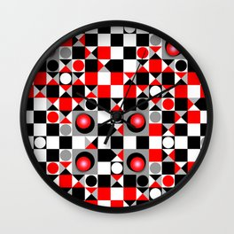 Cute Patterns in red, black and grey Wall Clock