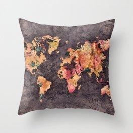 world map 68 Throw Pillow