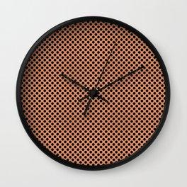 Copper Tan and Black Polka Dots Wall Clock