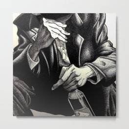 Hands and Bottle Metal Print