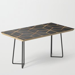Charcoal and Gold - Geometric Textured Cube Design I Coffee Table