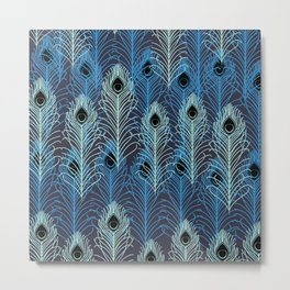 Peacock Feathers Pattern Metal Print