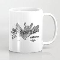 singapore Mugs featuring Singapore Map by Shirt Urbanization