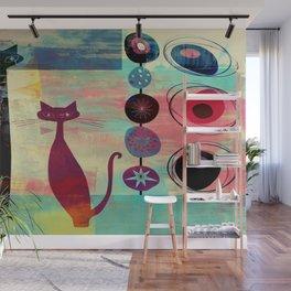 Mid-Century Modern 2 Cats - Graffiti Style Wall Mural