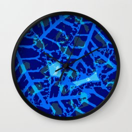 Blue Palm Shadows Wall Clock