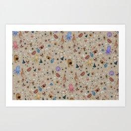 Dreams & Nightmares (on Khaki Beige Background)  Art Print