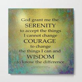 Serenity Prayer Gold on Blue-Green Metal Print