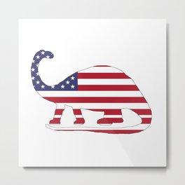 "Brontosaurus ""American Flag"" Metal Print"