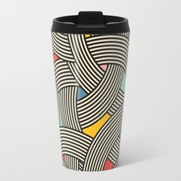 Modern Scandinavian Multi Colour Color Curve Graphic Travel Mug