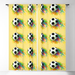 Football soccer sports colorful graphic design Blackout Curtain