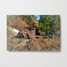 Old Trucker's Ride - Big Rig Truck Metal Print