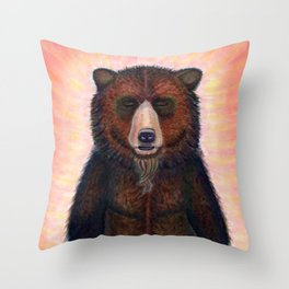 Blissed Out Bear Throw Pillow
