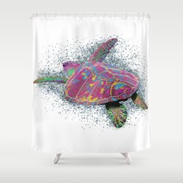 Sea Turtle - colorful swimming near the coral reef beach. Shower Curtain