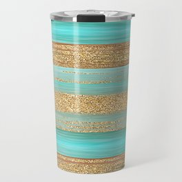 Turquoise Brown Faux Gold Glitter Stripes Pattern Travel Mug