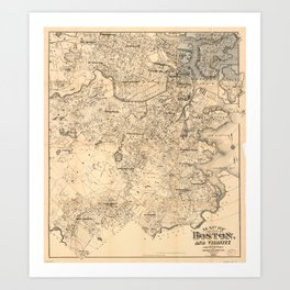Map of the City of Boston and Vicinity (1907) Art Print
