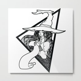 Pretty beautiful witch with full lips Metal Print