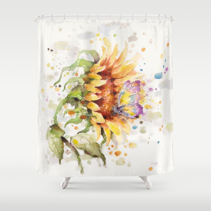 Hand In Butterfly Sunflower Shower Curtain