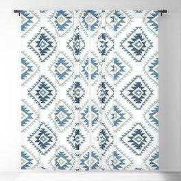 Aztec Style Motif Pattern Blues White Gold Blackout Curtain