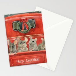 New year and mouses in red car Stationery Cards