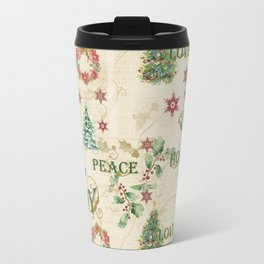 Christmas Love Joy Peace Collage Trees n Wreath Travel Mug