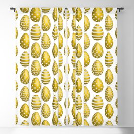 Happy golden yellow Easter eggs Blackout Curtain