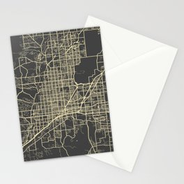 Tucson Map yellow Stationery Cards