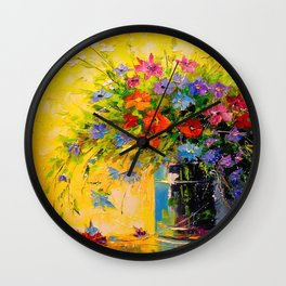 Bouquet of meadow flowers Wall Clock