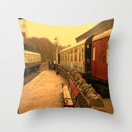 Vintage Steam Railway Clock. Throw Pillow