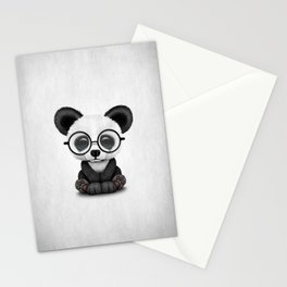 Cute Panda Bear Cub with Eye Glasses Stationery Cards