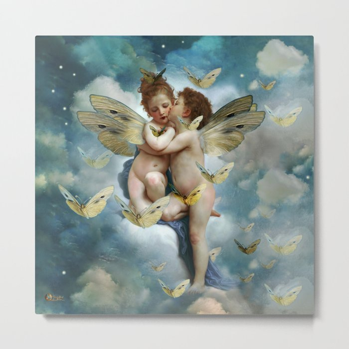 """Angels in love in heaven with butterflies"" Metal Print"