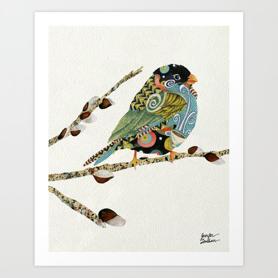 Cafe Swirly Bird 3 Art Print
