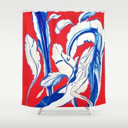 Plant in Blue Marker - Leaf of Life Miracle Leaf - RED Shower Curtain
