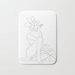 Minimal Line Art Woman with Tropical Leaves Bath Mat
