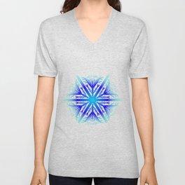 Blue Snowflake Design Unisex V-Neck
